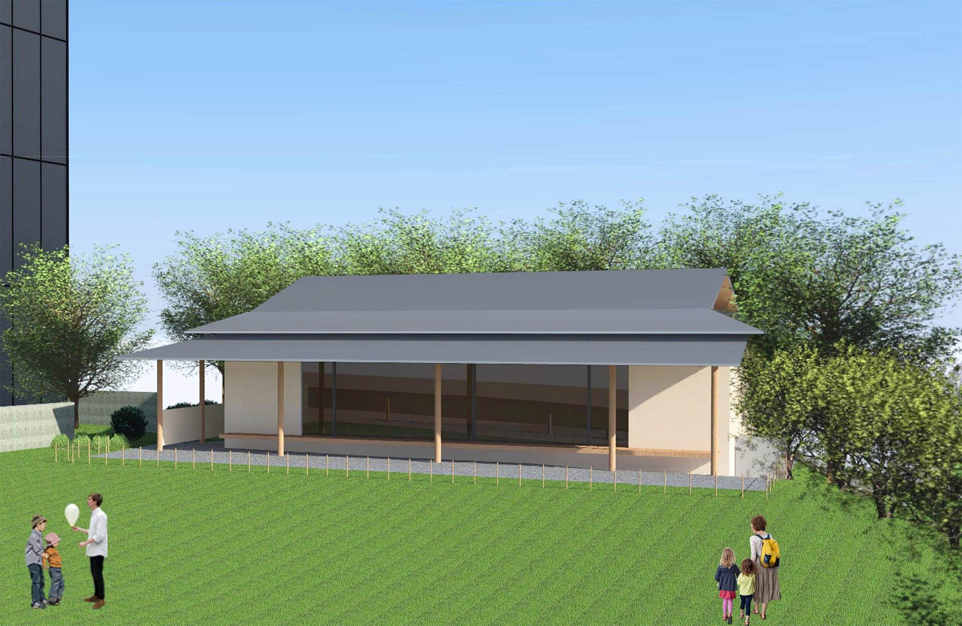 狭山市駅前に建設中のゴトー養殖研究所本社ビル敷地内に狭山市のランドマークとなる茶室を建設予定